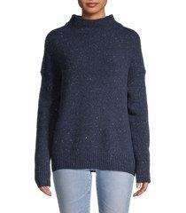 vince women's textured funnelneck sweater - fisherman blue - size m