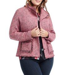 plus size women's nic+zoe favorite fringe jacket, size 2x - coral