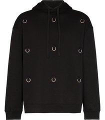 raf simons ring-embellished hoodie - black