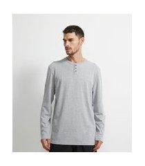 camiseta pijama manga longa gola henley | viko | cinza | gg