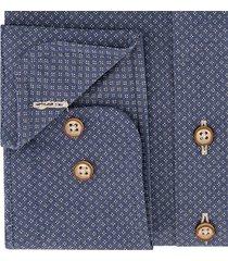 sleeve7 heren overhemd navy kleine bruine print modern fit