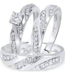 14k white gold fn round lab-created diamond women's bridal groom trio set ring