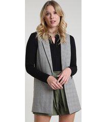colete feminino longo alfaiatado estampado xadrez com bolsos kaki