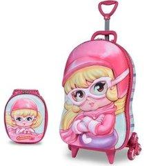 mochila escolar 3d com rodinhas e lancheira maxtoy penelope charminho light feminina
