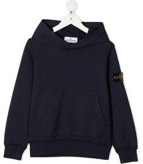 stone island junior logo-patch hoodie