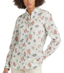 barbour bowland printed ruffled shirt