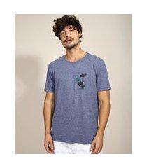 camiseta masculina coqueiros manga curta gola careca azul