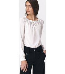 bluzka z dziewczęcym wiązaniem w kolorze ecru