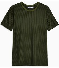 mens khaki vertical stripe crew neck t-shirt