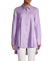 high-low button up shirt
