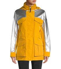 mackage women's toni-m mixed media jacket - ochre - size xs