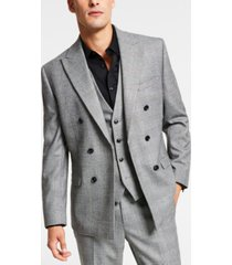 bar iii men's slim-fit black/white plaid double-breasted suit jacket, created for macy's