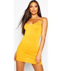 basic strappy cami bodycon dress, mustard