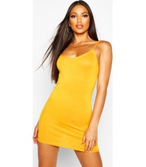 basic strappy cami bodycon dress, mustard