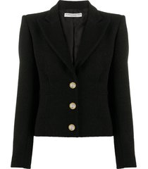 alessandra rich crystal-embellished single-breasted blazer - black