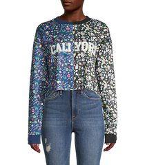 cali york floral cotton cropped sweatshirt