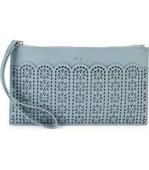 furla women's italia leather envelope wristlet card case - avio