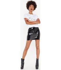 womens the vinyl word petite mini skirt - black