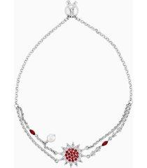braccialetto botanical, rosso, placcato rodio