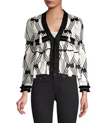 boatan diamond tassel knit jacket