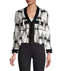 boatan diamond tassel knit jacket