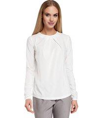 blouse moe m027 gecombineerd overhemd korte mouw - framboos