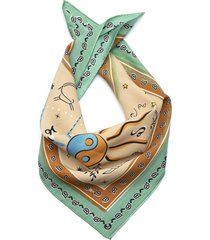 turquoise printed square scarf