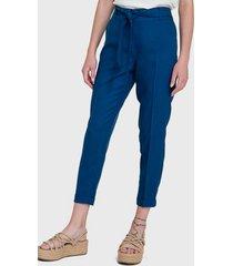 pantalón io liso bombacho azul - calce ajustado