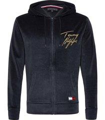 hoodie ls fz velour hoodie trui blauw tommy hilfiger