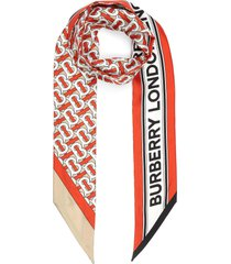 monogram logo silk twilly scarf