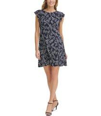 jessica howard petite floral-print flutter-sleeve dress