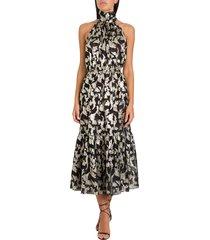 saint laurent chiffon jacquard dress