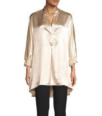 anne klein women's metallic high-low blouse - anne white - size m