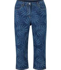 jeans capri elasticizzati fantasia con cinta comoda (blu) - bpc bonprix collection