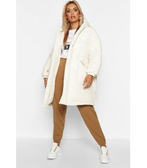 plus shawl collar belted mid length puffer coat, white