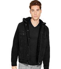 chaqueta clarke sherpa hooded jacket negro guess