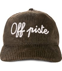 olive green baseball corduroy cap off piste embroidery