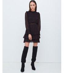 motivi vestito corto fantasia a cuori donna nero