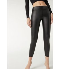 calzedonia leather effect leggings woman black size l