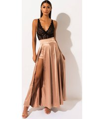 akira dancing all night high slit satin maxi skirt