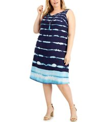 jm collection plus size striped tie-dyed a-line dress, created for macy's
