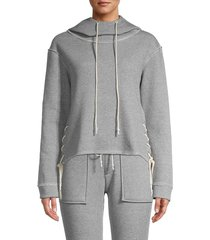 tart women's kala lace-up fleece hoodie - heather grey - size l