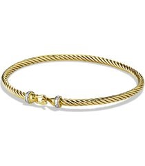 david yurman cable collectibles buckle bracelet with diamonds in 18k gold, 3mm, size large at nordstrom