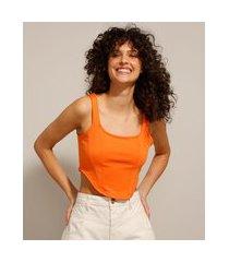 top cropped corset alça média decote reto laranja