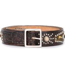 golden goose studded embellished belt - brown