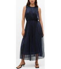 mango women's metallic pleated dress