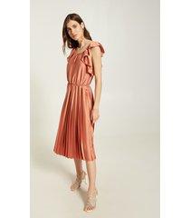 motivi vestito midi plissé in raso donna rosa