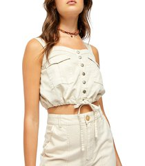 free people women's palm dessert denim crop top - beige - size l