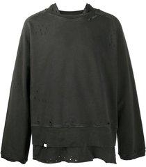 c2h4 distressed layered sweatshirt - grey