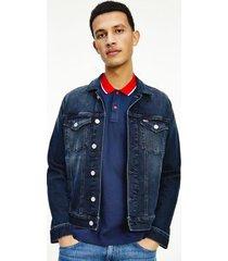 tommy hilfiger men's deep indigo trucker jacket denim blue wash - xxl